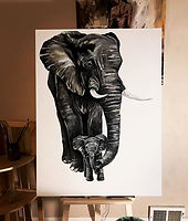 Another progression of my elephant series paintings