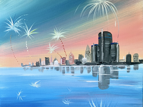 Detroit Skyline 4th of July Painting Kit