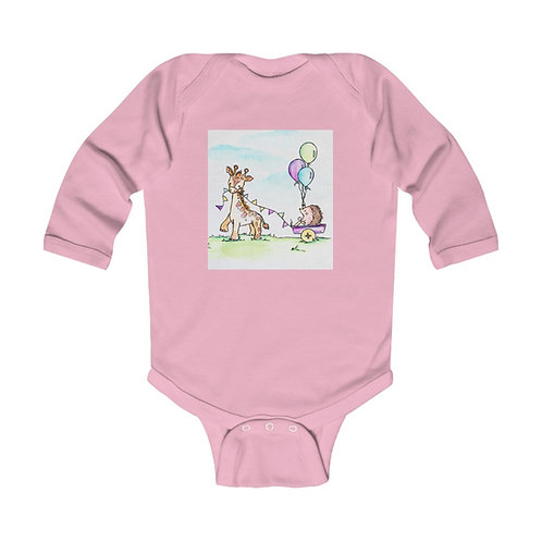 Giraffe & Hedgehog Infant Long Sleeve Bodysuit