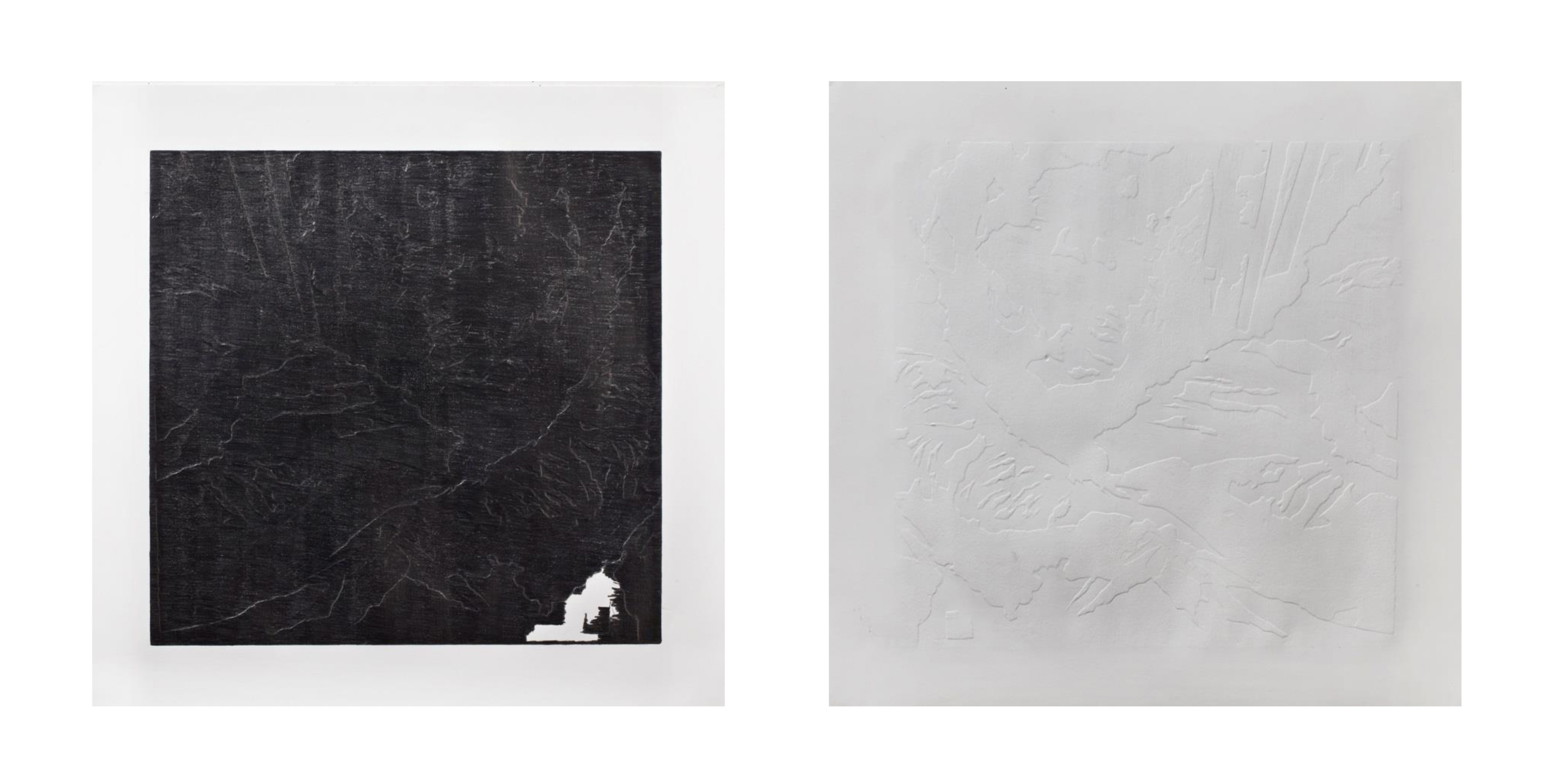 Untitled, 2015, pencil on paper, 7070 cm (the same Drawing from Front and back).