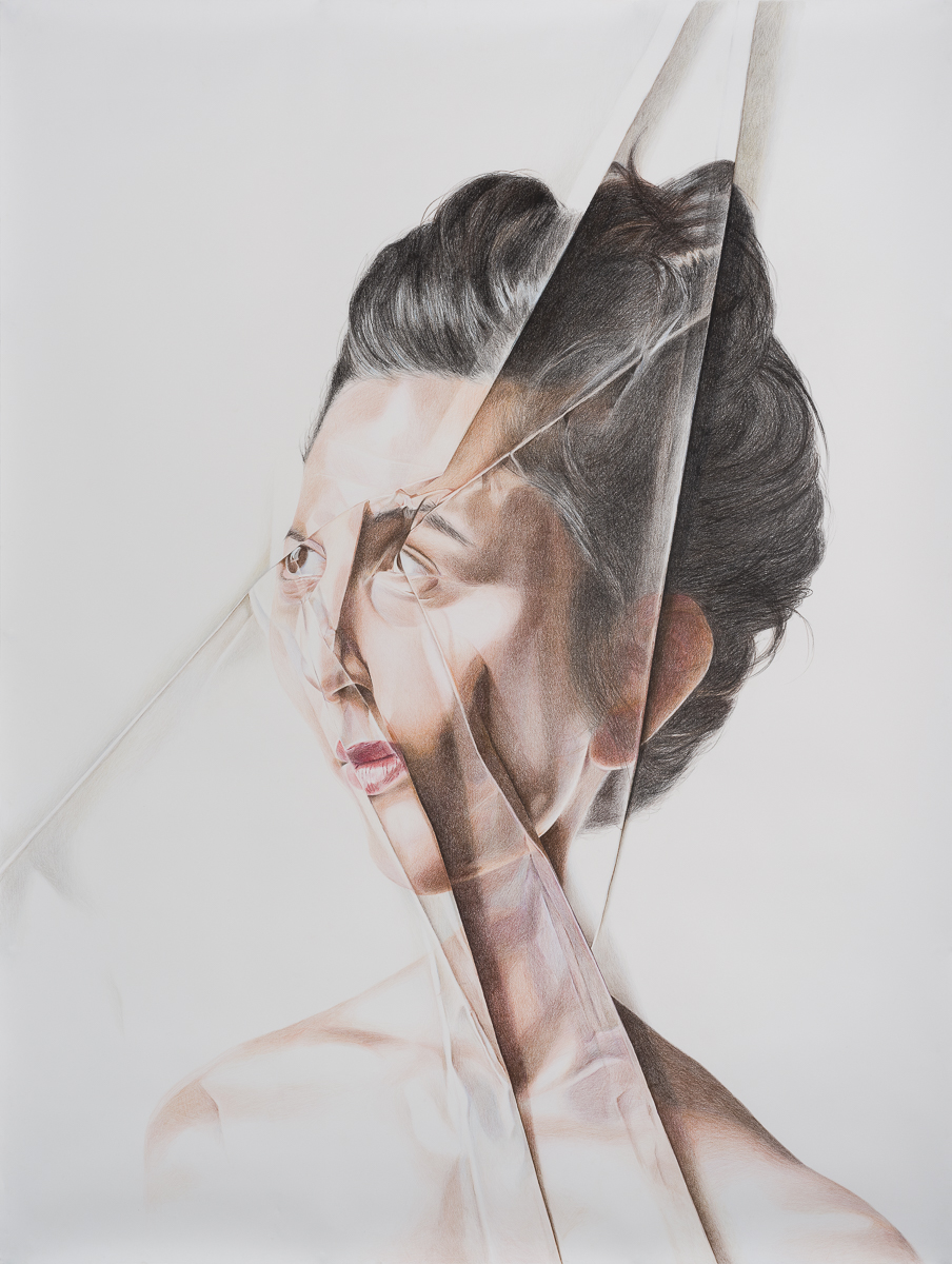 Folding myself_Colored pencils on paper_200X150 cm
