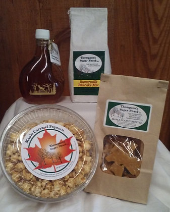 Pure Maple Syrup, Pancake Mix, Peanut Brittle & Caramel Popcorn Combo