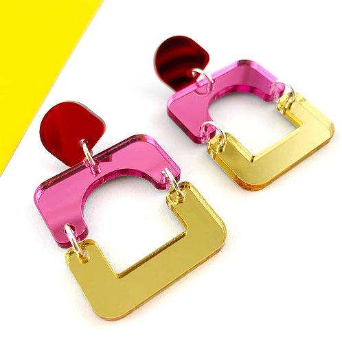 Pink, red & gold shapes earrings