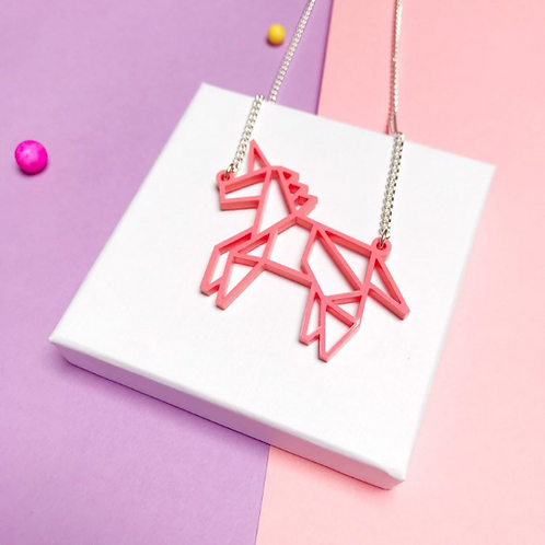 Origami unicorn necklace