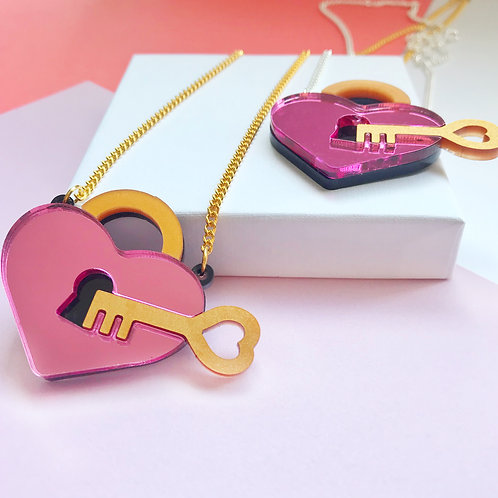 Pink Key to my heart necklace