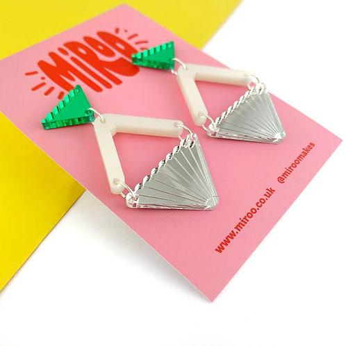 Silver, pearl & green Evelyn earrings