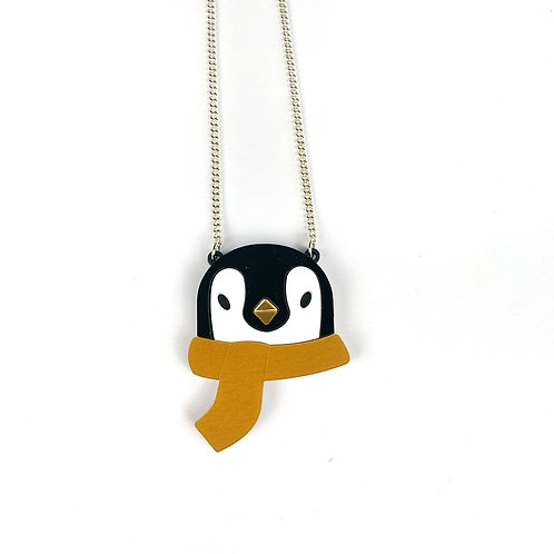 Penguin necklace- gold scarf