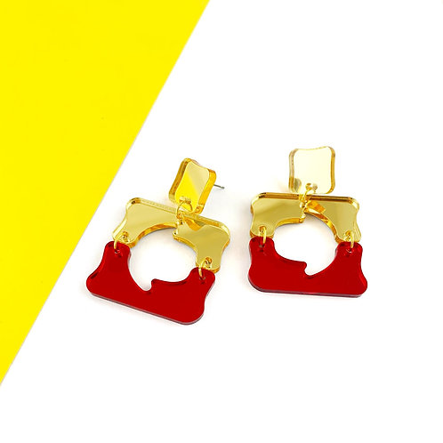 Red & Gold squiggly shapes earrings