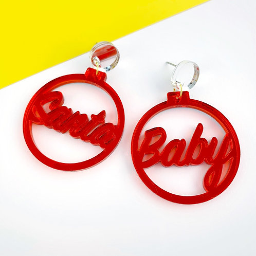 Santa baby mirrored acrylic earrings