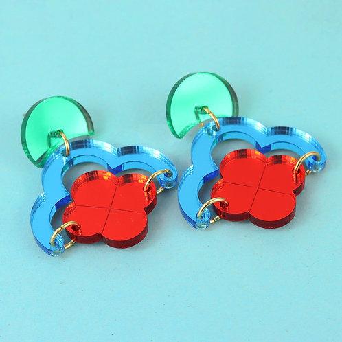 Claudia earrings- green, red & blue