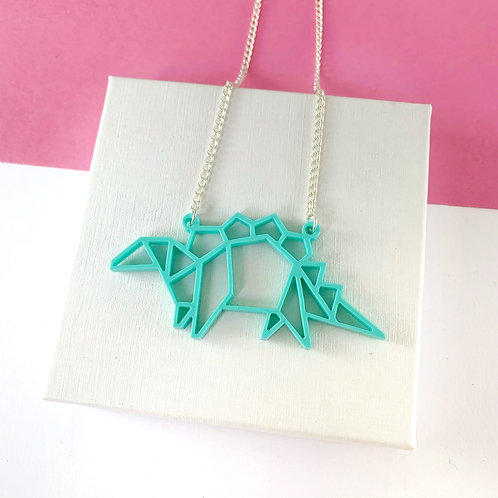 Origami Stegosaurus necklace