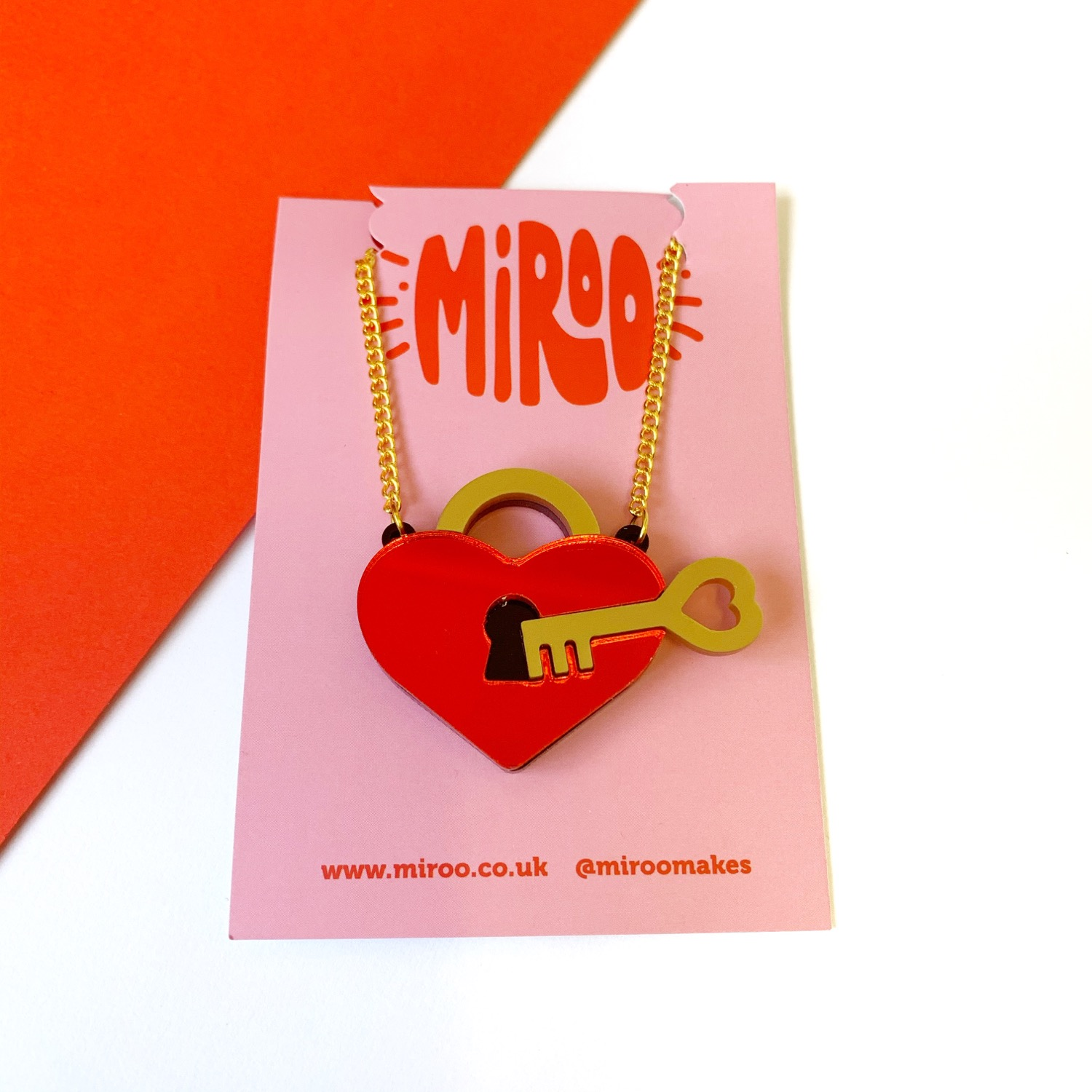 Thumbnail: Key to my heart necklace- mirrored red