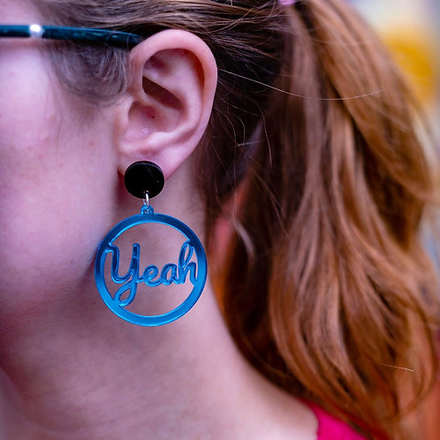 Hell Yeah earrings- blue mirrored