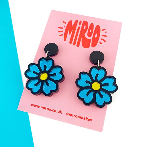 Pre-order 1-2 weeks  Blue Flower earrings