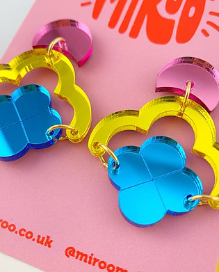 Claudia earrings- pink, yellow & blue