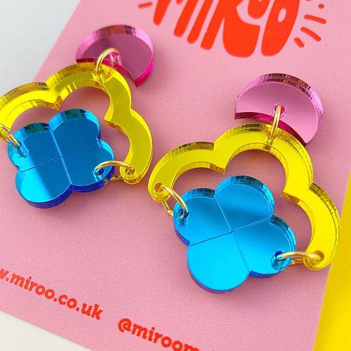 Claudia earrings- pink, yellow & blue