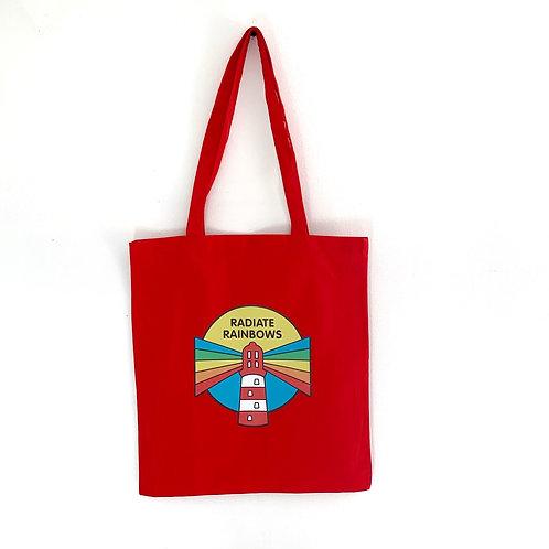 Radiate Rainbow tote bag - red