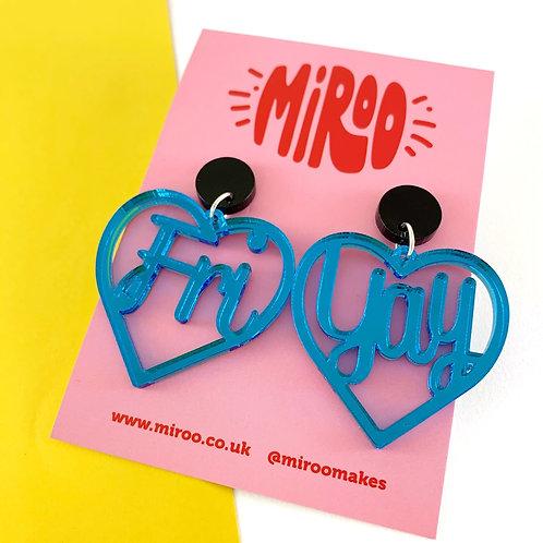 Fri-Yay earrings-Blue Mirror