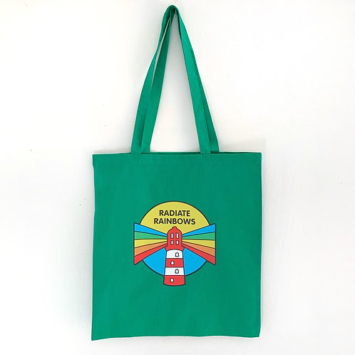 Radiate Rainbows tote bag- green