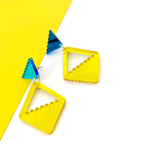 Yellow mirrored earrings