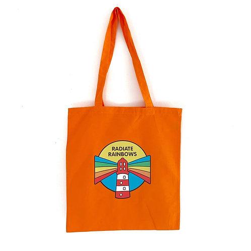 Orange Radiate Rainbows Tote Bag
