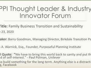 Purposeful Planning Institute: Family Business Transition and Sustainability with Barry Goodman