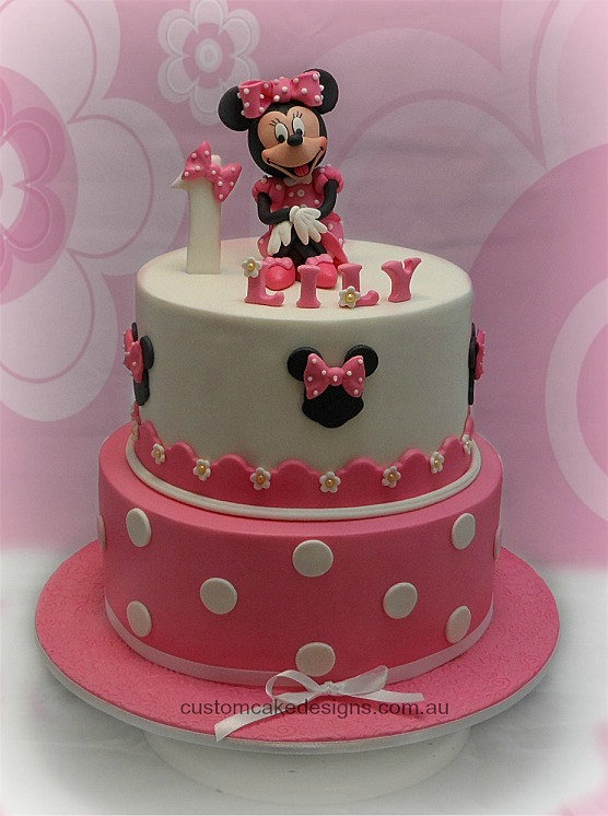 customcakedesigns | Minnie Mouse 1st Birthday Cake
