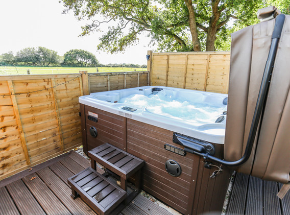 Hot tub with steps