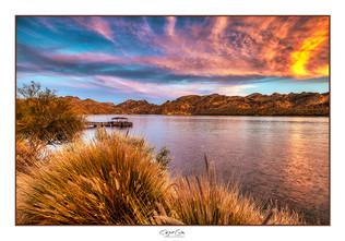Saguaro Lake bathed in sunset color