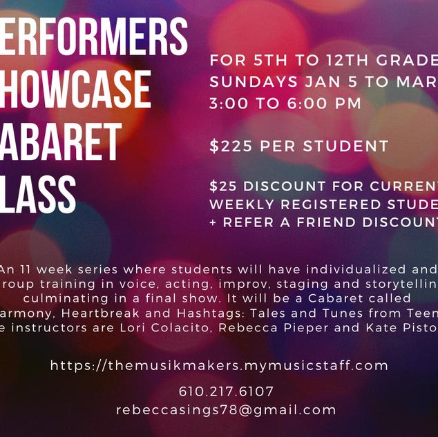 Facebook Post Graphic - Performers Showcase Cabaret Class