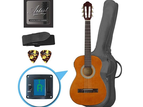 ARTIST CL12AM 1/2 SIZE CLASSICAL GUITAR PACK, NYLON STRING - AMB