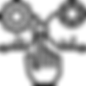 Dessin d'une main posant l'index sur le centre d'un processus et des rouages