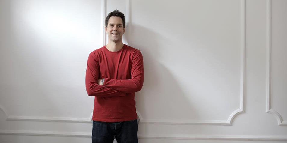 man alone smiling