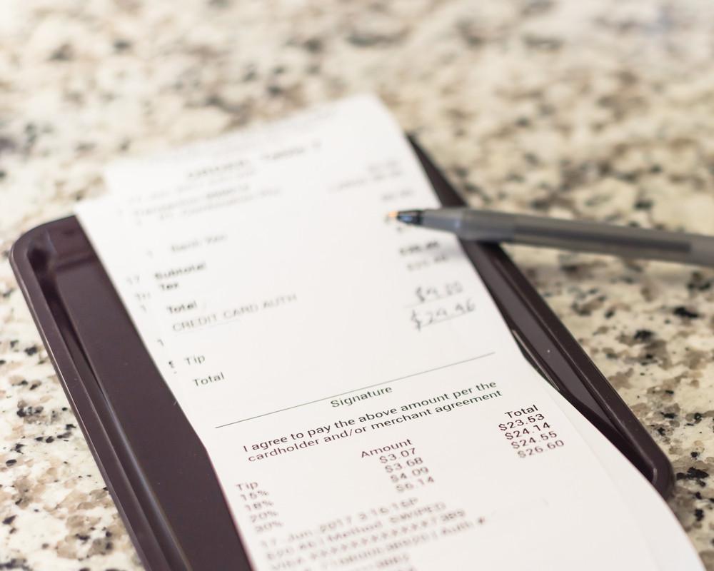 guest receipt at restaurant