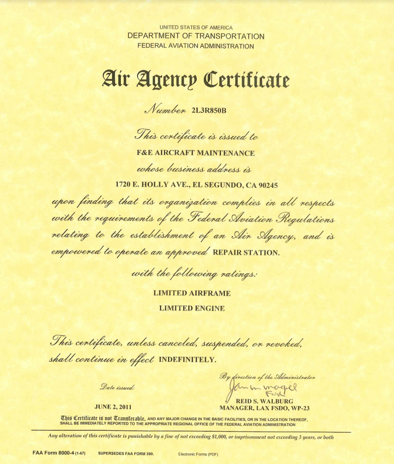 FAA PART 145 Air Agency Certificate
