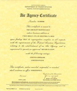FAA PART 145 Air Agency Certificate