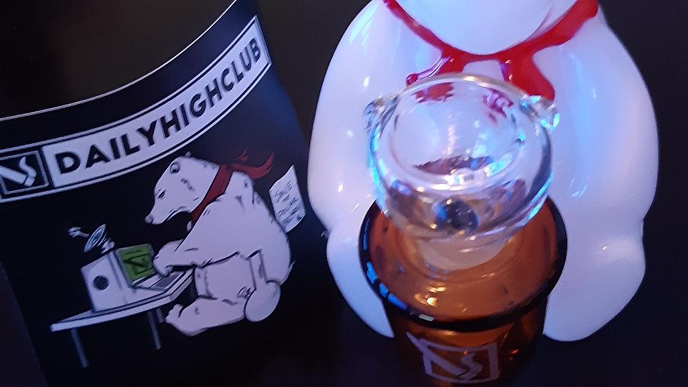 "Daily High Club ""Snowy Tha Bear"" V2 Bong+Premium 14mm Male Glass Bowl"
