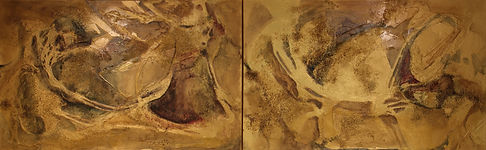 Golden Grotto 30x96 oil&multi media