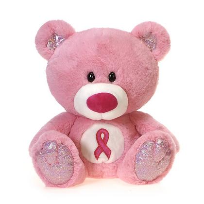 Signature Bear – Pink Bear with Cancer Awareness Logo