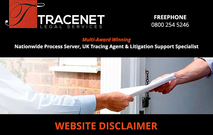 TRACENET LEGAL SERVICES WEBSITE DISCLAIMER