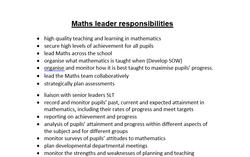 Maths leader responsibilities