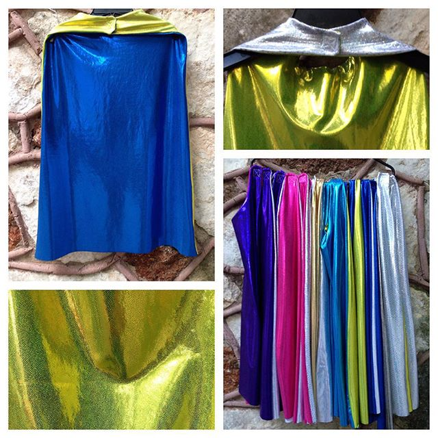 Working on superhero capes this week! And there are new colors of the shiny Mystique fabric that mak