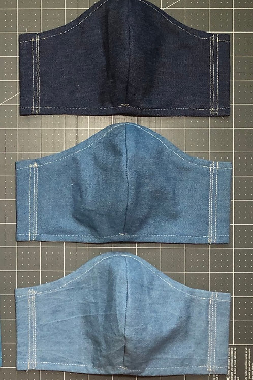 Denim Curved Fabric Face Mask