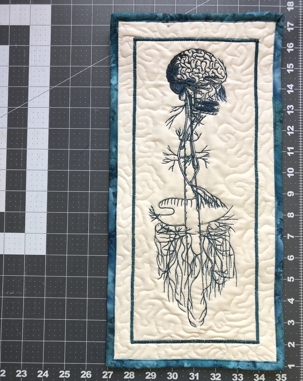 "Vagus Nerve 8x16"" quilted wall hanging"