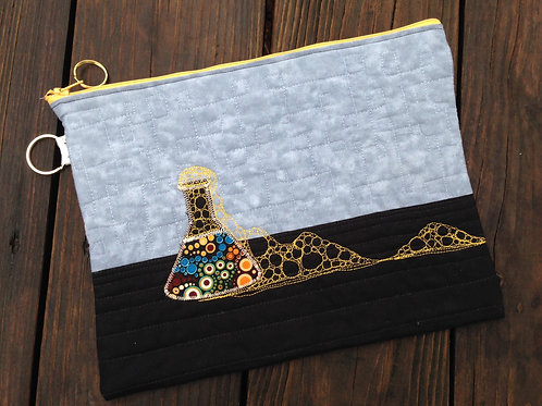 Extra Large Lab Accident quilted zipper bag - 8.5x11""