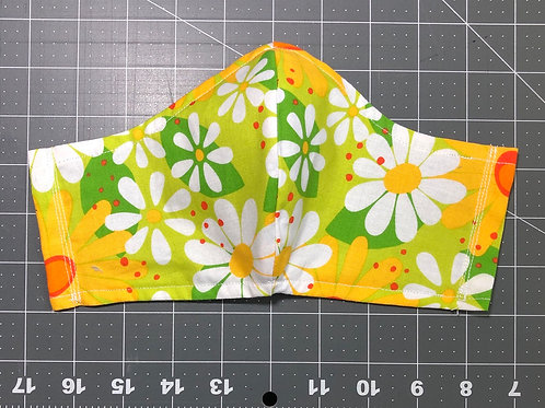 Daisies on green - Curved Fabric Face Mask