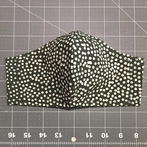 White dot on black batik - Curved Fabric Face Mask