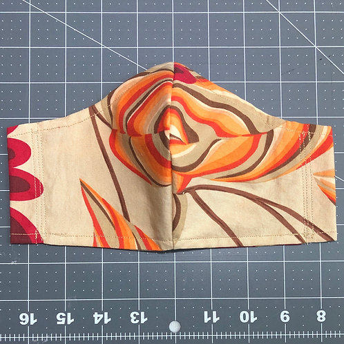 Leaves on tan - Curved Fabric Face Mask