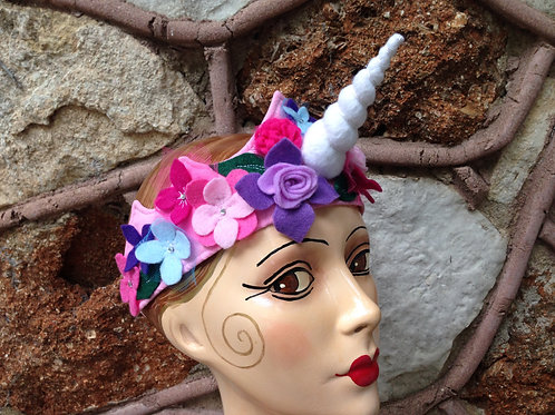 Unicorn crown with fancy flowers and leaves