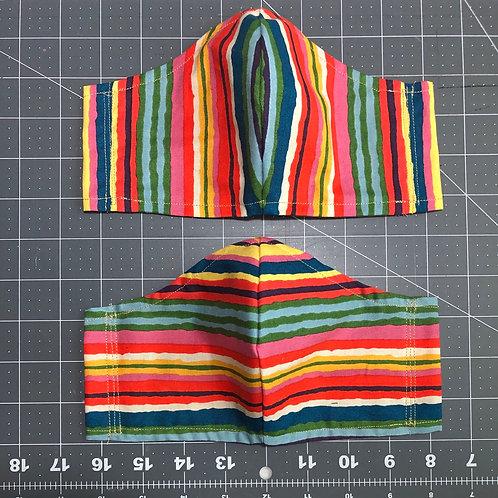 Multicolor stripe - Curved Fabric Face Mask